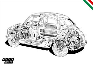 FIAT 500 DETAILED CUTAWAY RETRO A3 POSTER PRINT CLASSIC