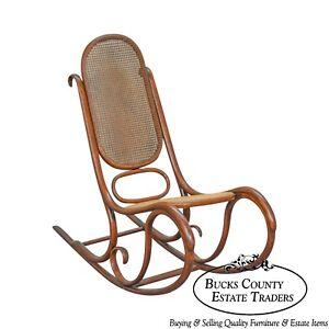 bent wood rocking chair papasan on sale thonet vintage antique bentwood rocker ebay image is loading