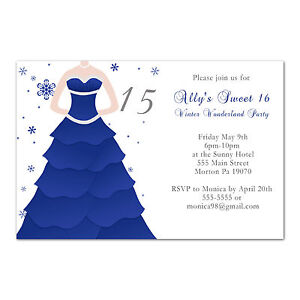 details about 50 sweet 16 birthday invitations 15 quinceanera party blue grey winter dress