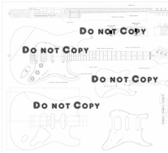Fender Strat HSS Electric Guitar Plans Full Scale Detailed