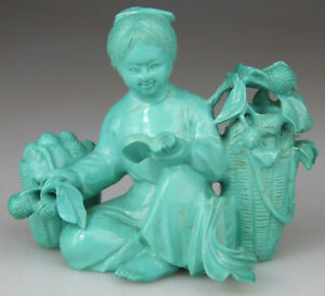 ANTIQUE SUPERB ! CHINESE STATUE FIGURE KWANYIN LADY TURQUOISE CARVED - QING 19TH