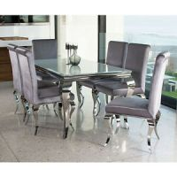 Louis dining table set with chairs- white stainless steel ...