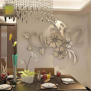 Removable 3D Mirror Flower Art Wall Sticker Acrylic Mural Decal Home Room Decor