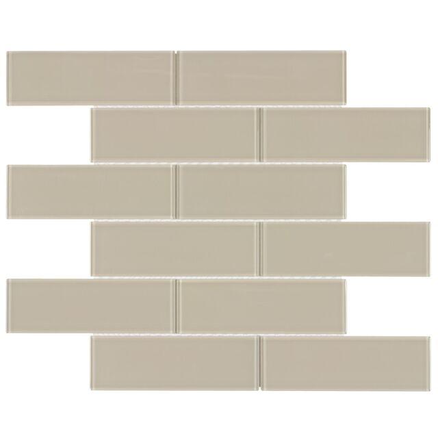 contemporary subway beige sand glossy glass mosaic backsplash tile mto0135
