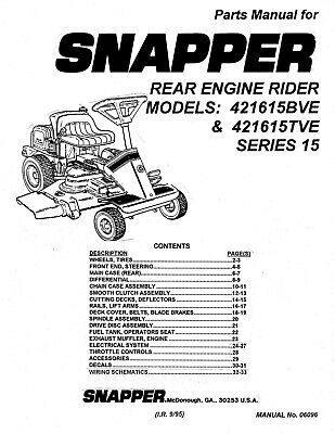 Snapper Rear Engine Lawn Mower Series 15 Repair Parts