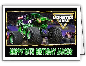 details about monster jam grave digger print personalised birthday card any name and age