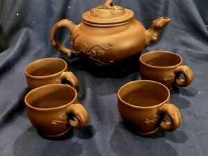 CHINESE YIXING PLUM BRANCH PATTERN DEEP RED BROWN TEAPOT WITH 4 CUPS MARKED