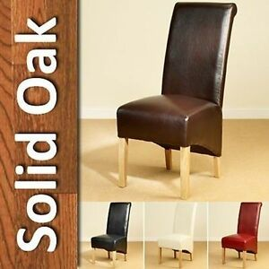 brown leather high back dining chairs eames wire chair scroll tall oak legs furniture image is loading