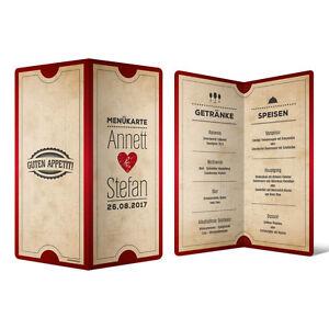 Menkarten Hochzeit  Vintage Herz in Rot  Speisekarte