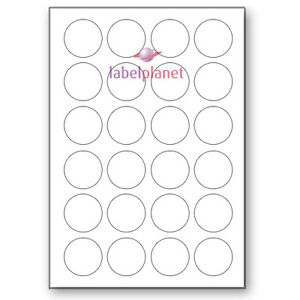 24 Per Page 40mm Blank White A4 Circular Round Sticky