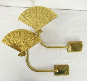 details about vintage pair solid brass japanese fan decorative curtain tie backs wall mount
