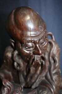 Chinese Antique Wood Figure Carved Statue Brass Inlay LARGE