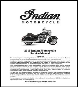 2015 Indian Motorcycles Service Repair Maintenance Manual