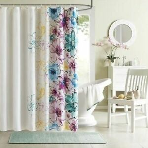 details about blue purple teal yellow large floral fabric shower curtain bathroom 72 x 72 in l
