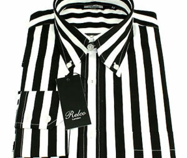 Image Is Loading Relco Mens Black White Striped Long Sleeved Shirt