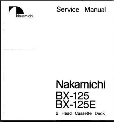 Nakamichi BX-125/125E Service Manual-Instructions