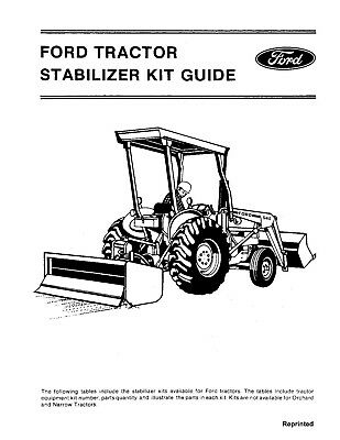NEW HOLLAND Ford Tractor Stabilizer Guide Kit OPERATORS