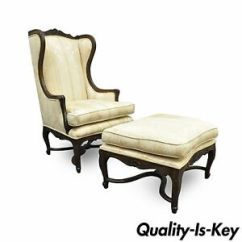 Country Style Wingback Chairs Rocking Chair Cane Seat Repair Vintage French Louis Xv Carved Walnut Image Is Loading