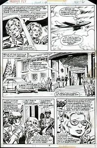 1977 THE HUMAN FLY #4 LEE ELIAS ORIGINAL COMIC BOOK ART PAGE MARVEL COMICS 1970s