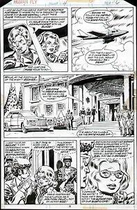 1977 THE HUMAN FLY #4 LEE ELIAS ORIGINAL COMIC BOOK ART PAGE MARVEL COMICS 1970s