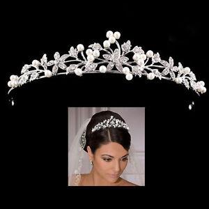 Braut Haarschmuck Blume Strass Krone Diadem Tiara Hochzeit
