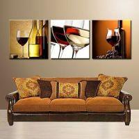 WINE/GLASS/BOTTLE ready to hang wall art print 3 panel/MDF ...