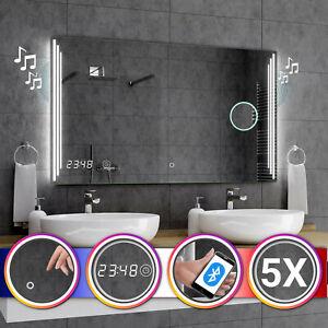 Miroir Salle De Bain Lumineux Led Praga Interrupteur Horloge Bluetooth F03 Ebay