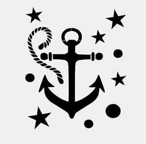 Anchor Nautical Stencil Star Stars Circles Rope Sea
