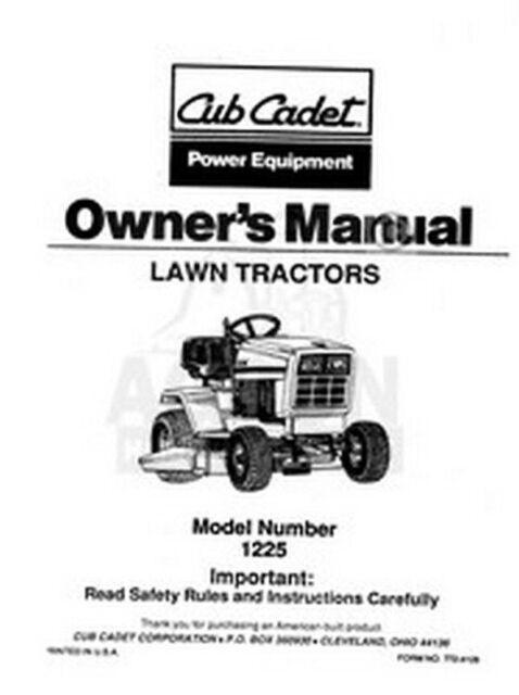 IH CUB CADET Model 1225 Tractor Owners Operators Manual
