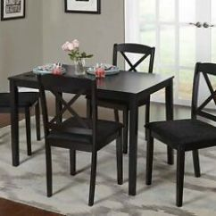 Kitchen Dinette Cherry Wood Cabinet Doors Farmhouse Dining Table Set Small Wooden Black 5 Image Is Loading