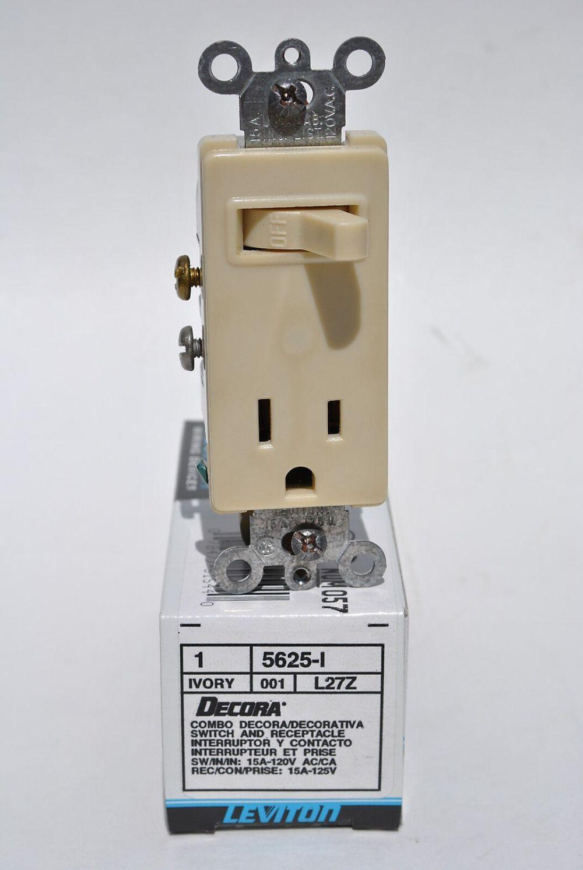 medium resolution of leviton 5625 i ivory combination decora single pole toggle switch receptacle for sale online ebay