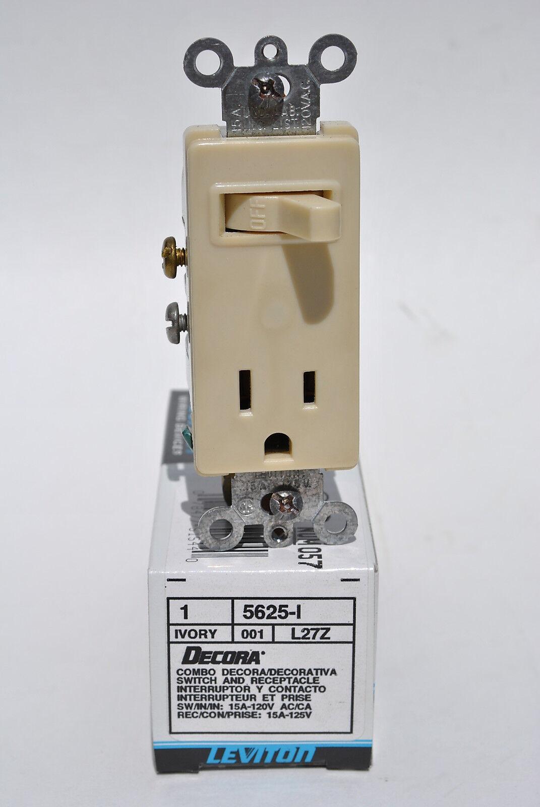 hight resolution of leviton 5625 i ivory combination decora single pole toggle switch receptacle for sale online ebay