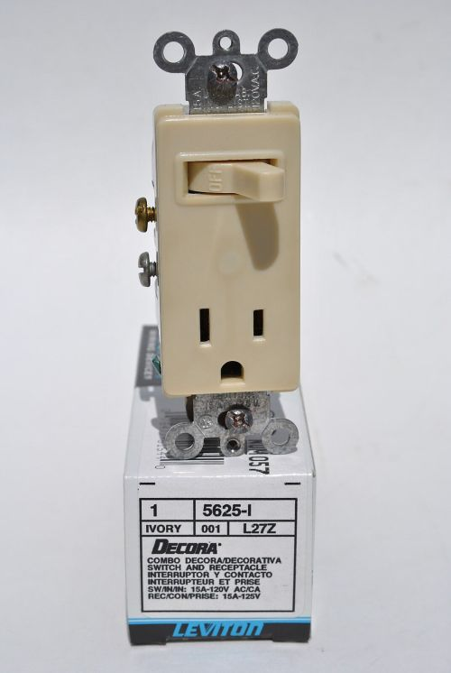 small resolution of leviton 5625 i ivory combination decora single pole toggle switch receptacle for sale online ebay