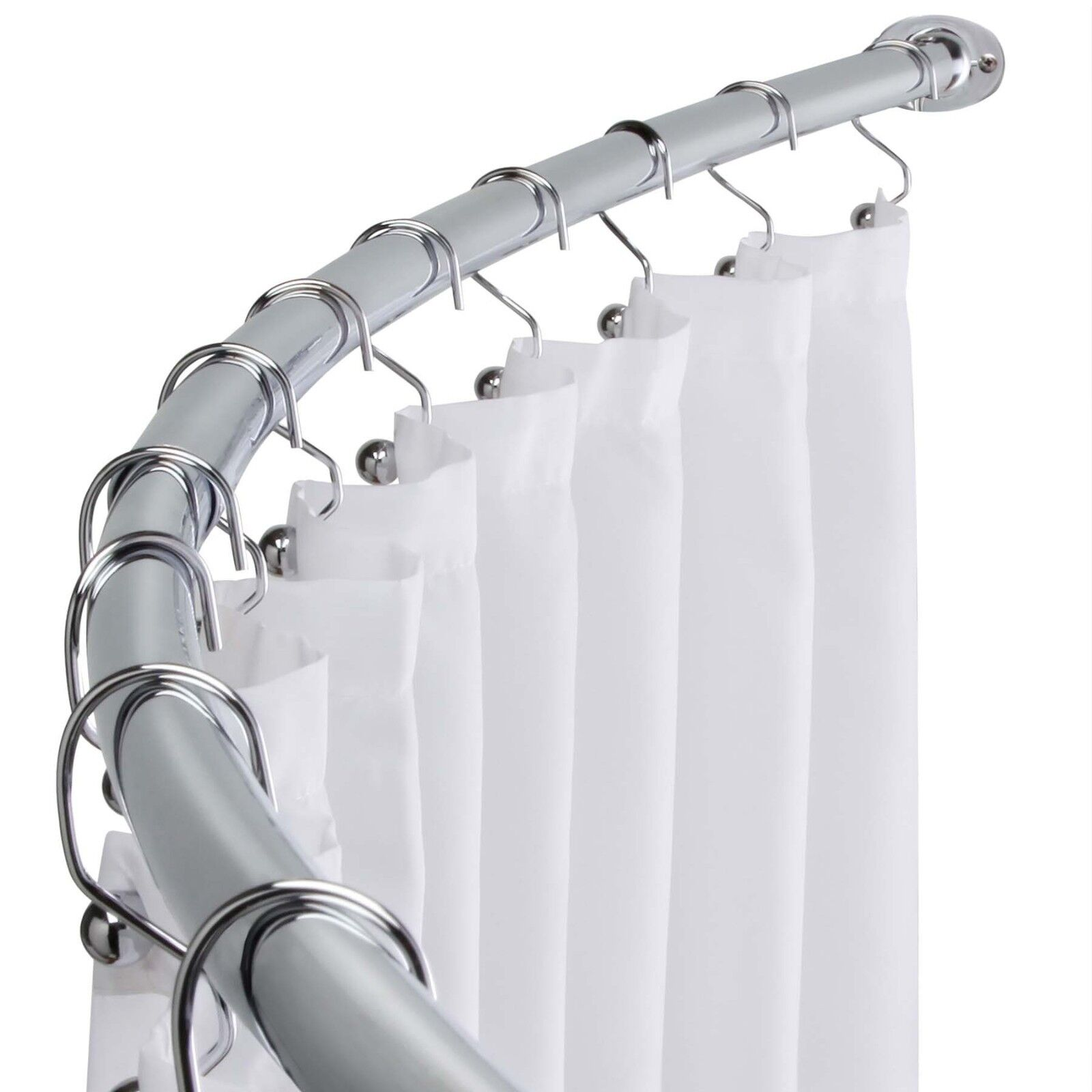 Polished Chrome Adjustable Bathroom Curved Shower Curtain Rod 60 To 72