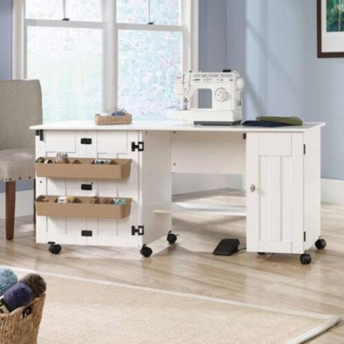 Home Garden Desks Home Office Furniture Sewing Table With Storage Craft Desk Drop Leaf Cabinet Shelf Sew Work White