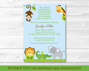 Details About Blue Safari Jungle Animals Printable Baby Shower Invitation Editable Pdf