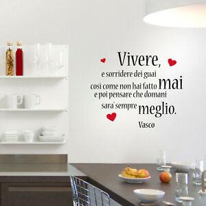 Kostenlose lieferung an den aufstellort sowie kostenlose rückgabe für qualifizierte artikel Wall Stickers Frasi Vasco Rossi Vivere Adesivo Murale Camera Canzone Amore Vita Ebay