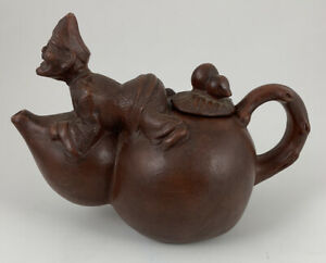 Vtg Chinese Yixing Zisha Small Clay Pottery Teapot Laughing Man Laying On Top