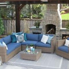 Sunbrella Fabric Sectional Sofas Beige Leather Sofa Cleaner 7pc All Weather Wicker Outdoor Patio Set Image Is Loading