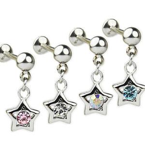 Stern mit Kristall in Silber Ohr Helix Tragus Piercing Stecker 1,2mm Labret