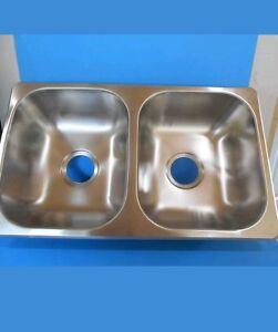 27 kitchen sink change cupboard doors rv 50 stainless steel double x 16 7 ebay image is loading
