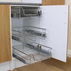 Kitchen Wire Storage Cabinet Door Moulding 3 Pull Out Baskets Drawer Slide Larder Image Is Loading