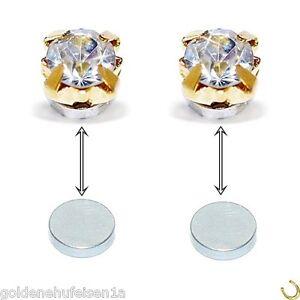 MAGNET Kristall 4mm Ohrstecker Ohrringe Piercing Ohrschmuck Magnetschmuck