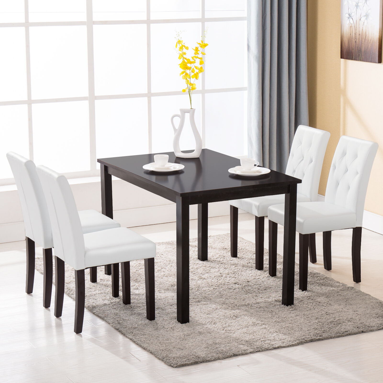 5 Piece Dining Table Set 4 Chairs Room Kitchen Dinette Breakfast Wood Furniture  eBay
