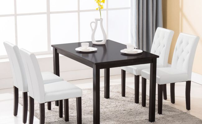 5 Piece Dining Table Set 4 Chairs Room Kitchen Dinette