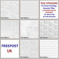 Cover up Tile Sticker - White Marble Pattern Decal ...