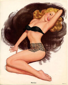 8 x 10 MARILYN MONROE THOMSON LACE COVER UP ORIGINAL ca 1950's PIN-UP ART PRINT