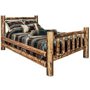 details about log bed queen size amish made solid pine bed frames rustic cabin furniture