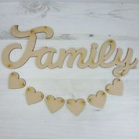 Word Plaque HANGING HEART Mummy Nanny Family Nannie Daddy ...