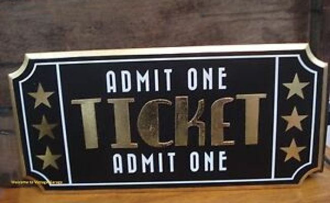 Cinema Theater Movie Ticket Decor Wood Plaque Home Wall